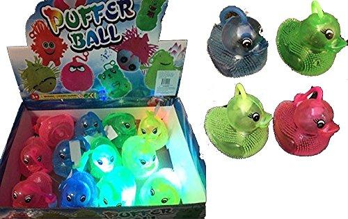 (12 Pcs (1 Dozen) Bulk Lot of Assorted Color Flashing Puffer Duck Yo-Yo Light Up Toys)