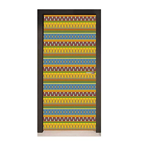 Homesonne Mexican 3D Door Decal Traditional Native American Aztec Borders with Geometric Artistic Figures Vintage Door Creative Decoration Multicolor,W23.6xH78.7