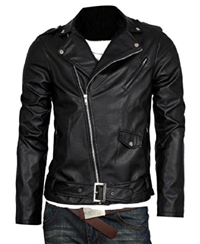 Leather Belted Motorcycle Jacket (MK988 Mens Lapel Zip Up Belted Pu Leather Motorcycle Biker Jacket Coat Black S)