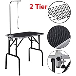 yoshioe Foldable Pet Grooming Table with Mesh Tray and Adjustable Arm Silver Base with Black Table