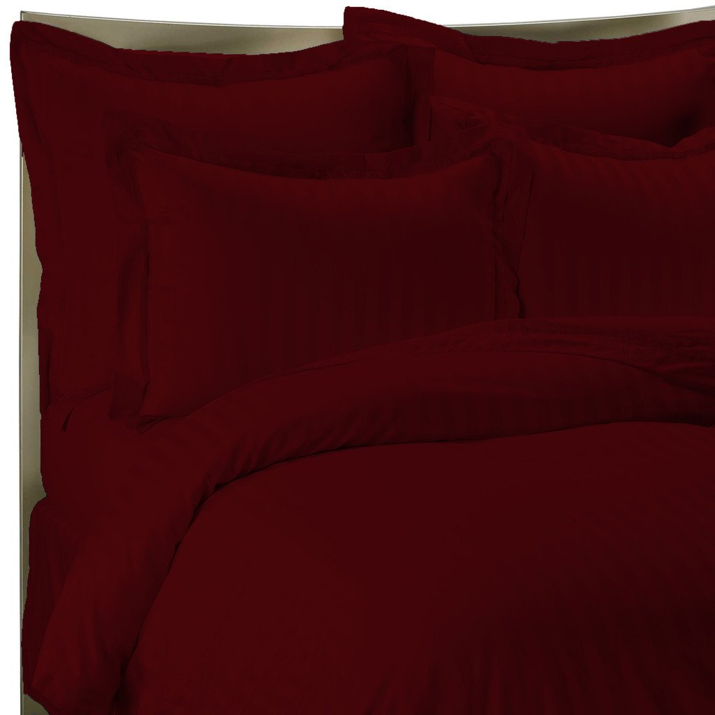 300 Thread Count Luxurious 100% Egyptian Cotton Duvet Cover Maroon Queen (Duvet Cover with Zipper Closure) By Bed Alter Striped