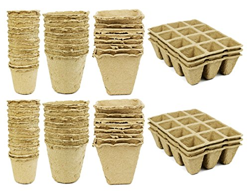 Set of 62 Biodegradable Eco Friendly Peat Pots! 4 Great Styles - Recycled Non Bleached Peat Pots Perfect for Seed Germination! No Transplanting Required - No More Damaged Roots! (62) by Black Duck Brand