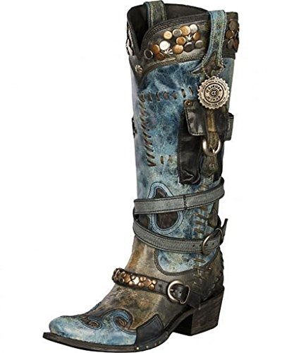 Lane Women's For Double D Ranch Frontier Trapper Cowgirl Boot Snip Toe Black 9 M US by Lane