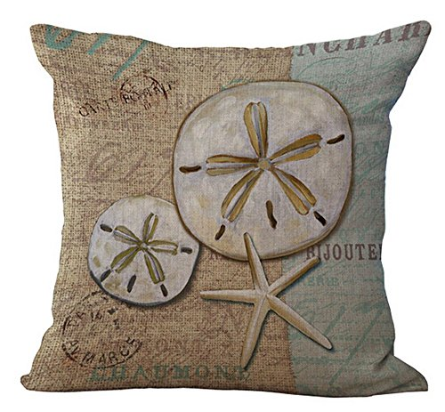 Pictures Sand Dollars - Cotton Linen Vintage Mediterranean Ocean Series Marine Organisms Conch Shells And Starfish Sand Dollar Throw Pillow Covers Cushion Cover Decorative Sofa Bedroom Living Room Square 18 Inches