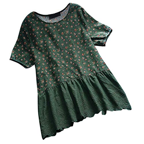 (JOFOW Shirts Womens Babydoll Boho Floral Print Patchwork Lace Solid Pleated O Neck Cotton Linen Short Sleeve Loose Dress Tops (M,Green))