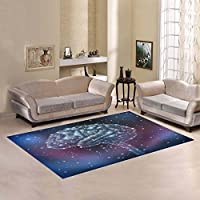 Custom Galaxy Space Hunman Brain Area Rugs Carpet 7 x 5 Feet, Magic Purple Glitter Modern Carpet Floor Rugs Mat for Children Kids Home Living Dining Room Playroom Decoration