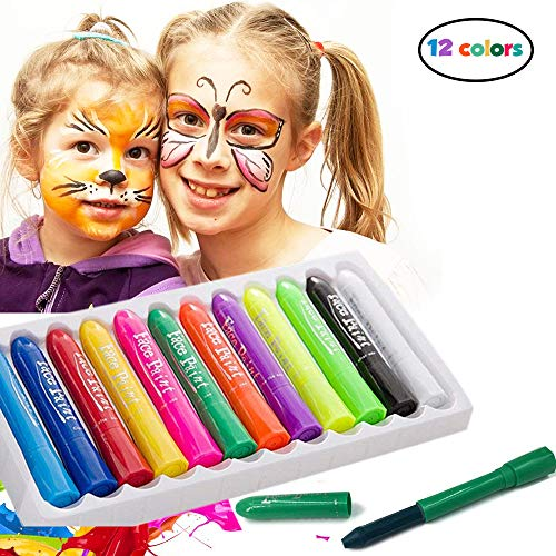 Face Paint Crayons - 12 Piece Face Painting Kits and Washable Face Paints for Kids Face Painting and Body Paint for Kids Party Games, Makeup and Professional Face Painting Kit for Adults ()