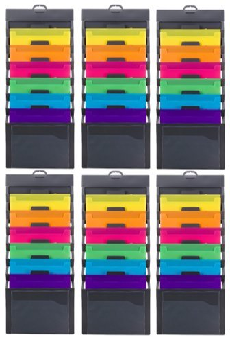 Smead Cascading Wall Organizer, 6 Pockets, Letter Size, Gray/Bright (92060) (Bright Color Pockets 6-Pack)