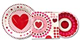 Valentine's Hearts and Dots Party Dinner Paper Plates Bundle for 16 - Large Paper Plates, Small Dessert Plates, Large Matching Napkins, all coordinating.