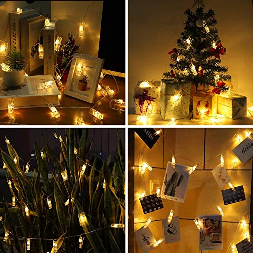 40 LED Photo Clip Lights – Adecorty 8 Modes USB Powered Photo Clips String Lights with Remote & Timer, Gifts for Teen…
