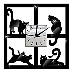 Whitelotous 3D Black Cat Acrylic Mirror Wall Clock - Ultra Mute - Wall Sticker Clock - for Living Room Decor,11 X 11 inches
