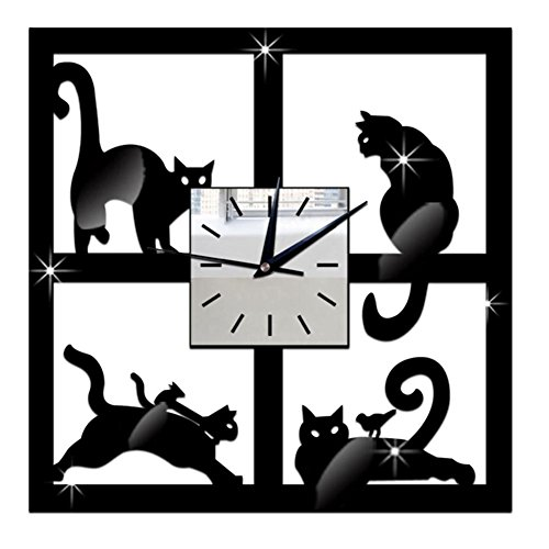 Wall Cat Metal Clock (Whitelotous 3D Black Cat Acrylic Mirror Wall Clock - Ultra Mute - Wall Sticker Clock - for Living Room Decor,11 X 11 inches)