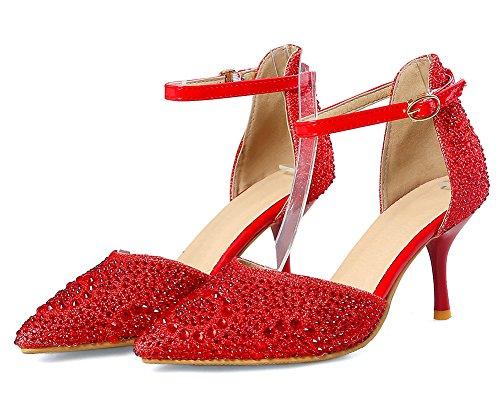 Easemax Chaussure Banquet heel Femme Rouge Escarpins Pointue Mode Kitten RqwH1Rr