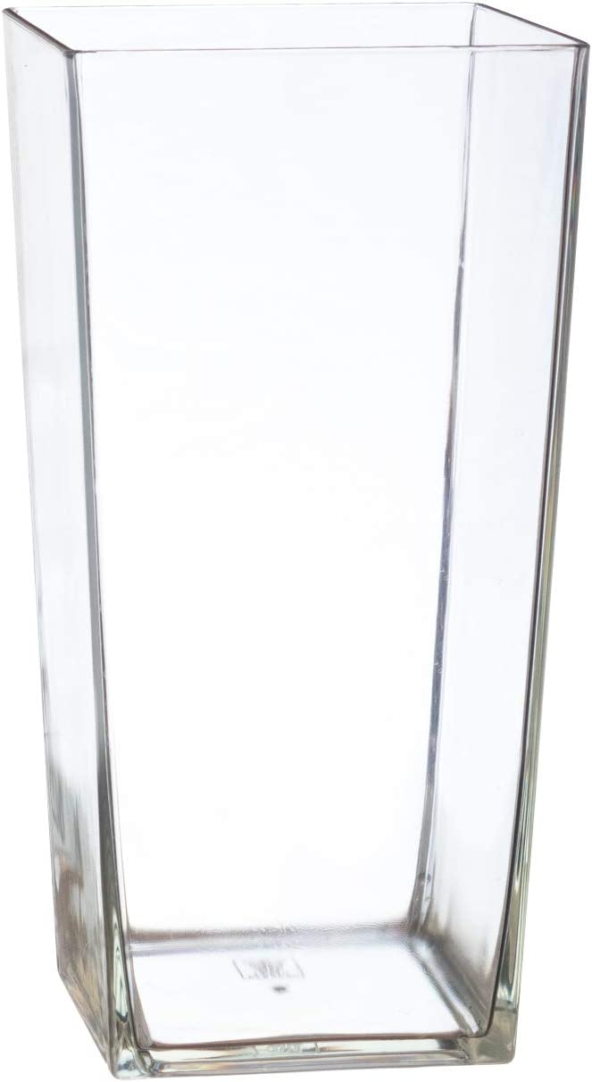 "Royal Imports Flower Vase Acrylic Square Tapered Decorative Centerpiece for Home or Wedding - Non Breakable Plastic, 5""X10"" Tall Cube Shape- Clear"