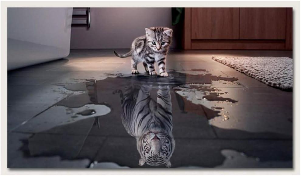 Peinture sur Toile R/éflexion cr/éative R/éflexion de Chat Tigre Imprim/é Animal Affiches Personnalit/é D/écoration de la Maison Mur Art Photos 20x40 cm Pas de Cadre 7.8x15.7 Pouces