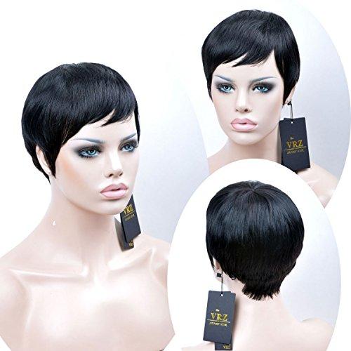 VRZ Human Hair Wigs Short Pixie Cut Wig for Women Black Color 1B (PX9001) by VRZ (Image #1)