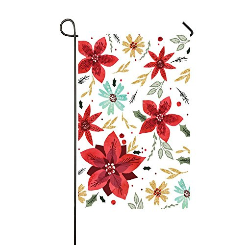 Beautiful Spring Red Open Flowers with Gold Leaves 28x40 Inch House Flag - Double Sided Decorative Outdoor ()