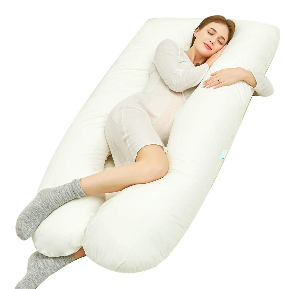 Joyourbaby 59'' Full Body Pregnancy Pillow U-Shaped Maternity Sleeping Pillow with Removable Cotton Cover (White)
