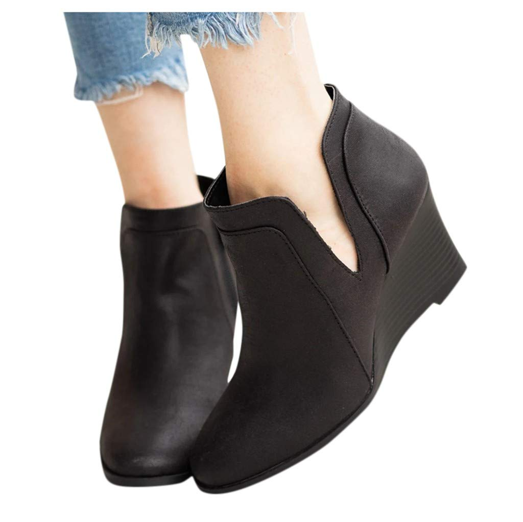 Women Wedge Heeled Ankle Boots Wide Width V Cutout Short Booties Mid Chunky Block Heels Boot with Zipper (US:9.5-10, Black) by Dasuy