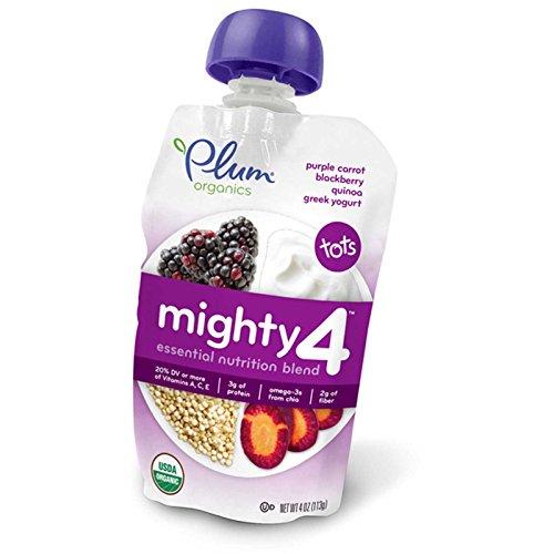 Plum Organics, Mighty 4, Essential Nutrition Blend, Purple Carrot, Blackberry Quinoa, Greek Yogurt, 4 oz (113 g) (Pack of 3)