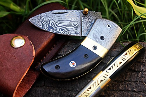 DKC-43-BLACK-THUMB-Damascus-Steel-Folding-Pocket-Knife-35-Folded-625-Open-75oz-225-Blade-High-Class-Looks-Incredible-Feels-Great-In-Your-Hand-And-Pocket-Black-Buffalo-Horn-Damascus-Bolster