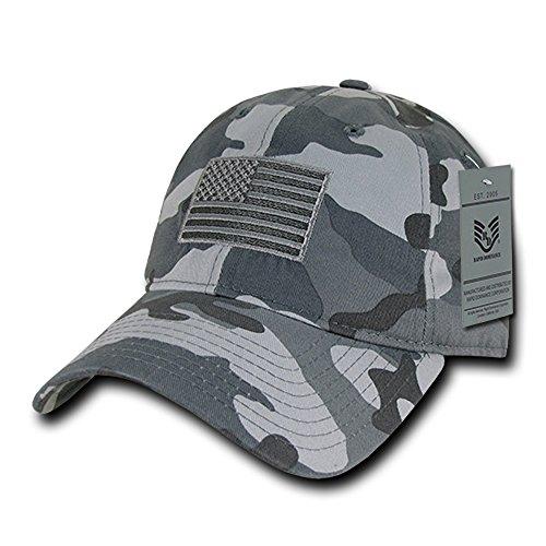 American Flag Embroidered Washed Cotton Baseball Cap - Gray Camo (Grey Camo Cap)