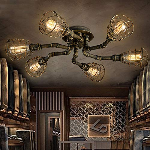 FidgetGear 6 Lights Rustic Industrial Cage Pipe Pendant Light Loft Chandelier Ceiling Lamp by FidgetGear (Image #1)