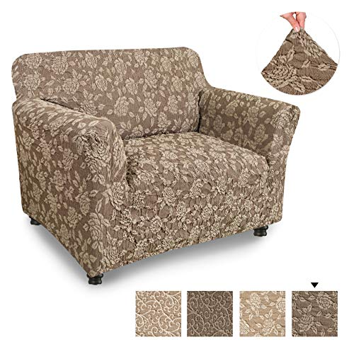 PAULATO BY GA.I.CO. Chair Cover - Armchair Cover - Armchair Slipcover - Cotton Fabric Slipcover - 1-Piece Form Fit Stretch Stylish Furniture Protector - Jacquard 3D Collection - Brown Rose (Chair)