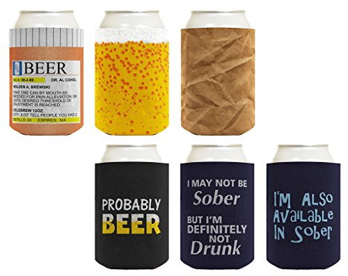 Beer Coolie Drinking Gift Bundle Funny Variety 6 Pack Can Coolie Drink Coolers Coolies Set #3 ()