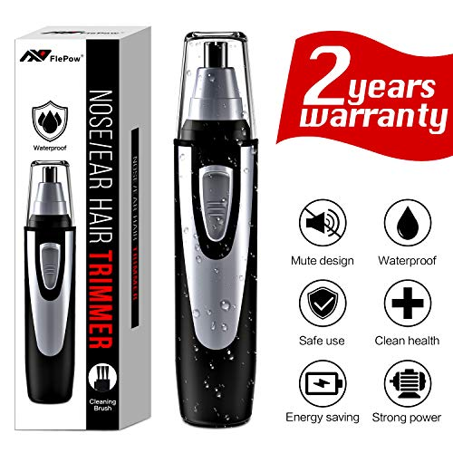Ear and Nose Hair Trimmer Clipper - 2018 Professional Painless Eyebrow and Facial Hair Trimmer for Men and Women, Battery-Operated, IPX7 Waterproof Dual Edge Blades for Easy Cleansing