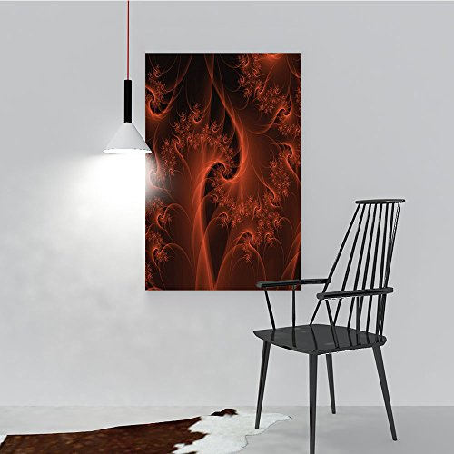 Philip C. Williams Color Wall Art Painting Frameless Digital Fractal with Swirling Turning Moving Floral Lines Moti Modern Hotel Office Decor Gift Piece W44 x ()