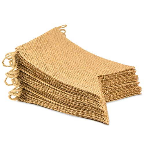 Aproo 30Pcs Burlap Banner, Perfect DIY Party Decoration for a Wedding, Birthday, Baby Shower, Graduation, Halloween, Christmas, Welcome Party, Country Party and Other Celebratory Events ()