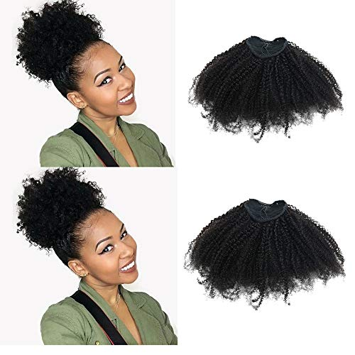 EIAKE Hair 4B4C Afro Kinky Curly Ponytails Clip In Human Hair Extensions For African Amaricans Kinky Coily Natural Virgin Clipin Ponytail HairPieces Curly Drawstring Puff Ponytail Top Closure ()