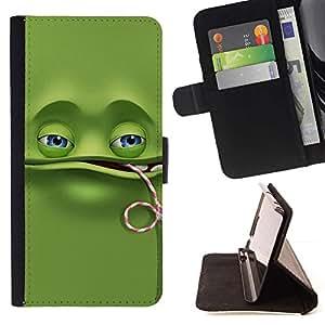 Momo Phone Case / Flip Funda de Cuero Case Cover - Divertido de la rana verde;;;;;;;; - Apple Iphone 4 / 4S