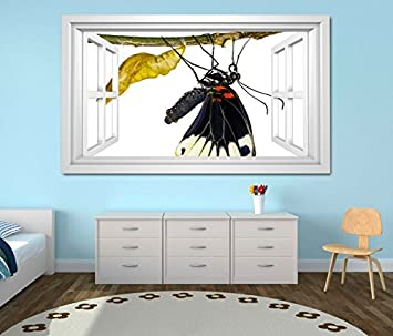 2e0b4365b Image Unavailable. Image not available for. Colour: 3D wall sticker  Butterfly cocoon flower nature window digital ...
