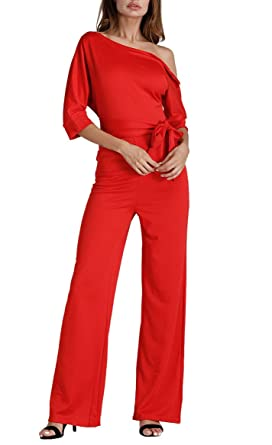 f8860d43fe10 Remelon Womens One Shoulder Solid Short Sleeve High Waist Belt Tie Jumpsuit  Long Romper Playsuit