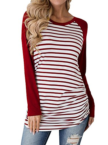 Inorin Womens Casual Cotton Striped Raglan Long Sleeve Long t Shirt Shirts Tops (Striped Long T-shirt)