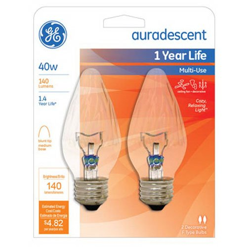 - G E LIGHTING 75343 Flame Shape Auradescent Bulb, 40W, 2-Pack
