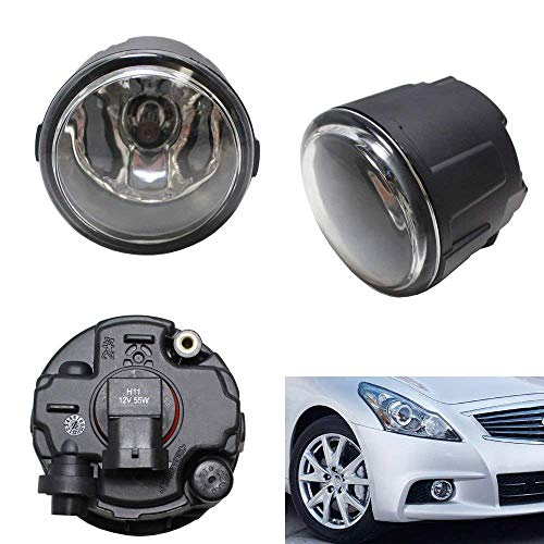 iJDMTOY Pair of Clear Lens Halogen Fog Lamps For Infiniti EX FX G M Q Nissan Cube Juke Murano Quest Versa etc, Driver Passenger Side Assembly w/ (2) 55W H11 Halogen Bulbs ()