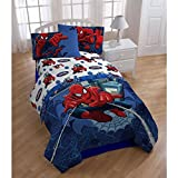 4 Piece Kids Spider-Man Themed Sheets Full Set, Adorable Marvel Character Pattern, Beautiful All Over Spider CobWeb Printed Reversible Bedding, Abstract Animated Style, For Unisex, Red Blue
