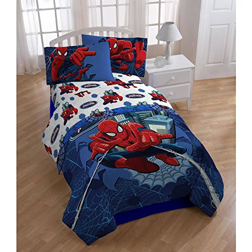3 Piece Kids Spider-Man Themed Sheets Twin Set, Pretty Superheroes Character Pattern, All Over Spider CobWeb Printed Reversible Bedding, Abstract Animated Style, For Unisex, Red Blue Vibrant Colors