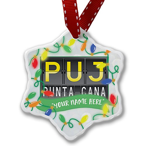Name Ornament Personalized (Personalized Name Christmas Ornament, PUJ Airport Code for Punta Cana NEONBLOND)