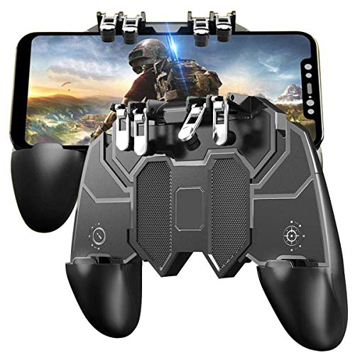 SPYKART® {AK-66} Upgraded Version All in 1 Pubg Remote Controller 6 Fingure Gamepad for All Android & iOS Mobile Phone's Size Upto 6.5″ inch – Black