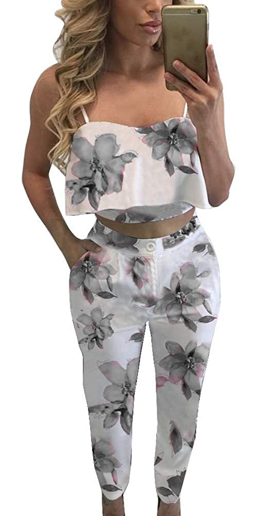 e93016cb4e6 Amazon.com: FANCYINN Women 2 Pieces Jumpsuit Romper Spaghetti Strap Top and  Long Pants Casual Style: Clothing