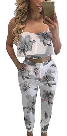 882f97605d30 FANCYINN Women Summer Gray Ruffle Crop and Middle Waist Pants Floral Print  Set S