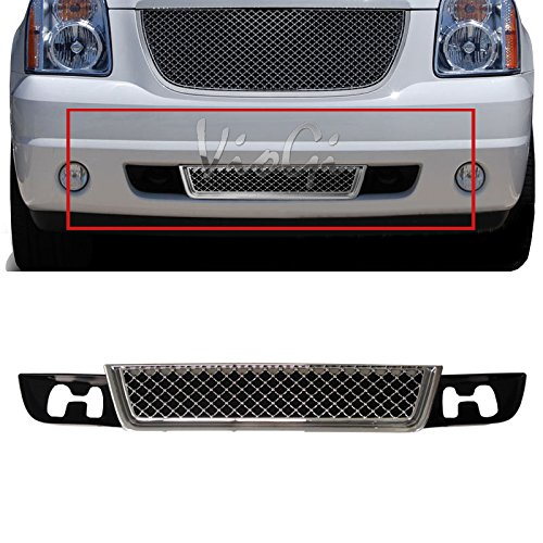 VioGi 1pc Chrome Strong ABS Plastic Mesh Style Front Lower Bumper Grille Fit 07-14 GMC Yukon Base/SLE/SLT/Denali Only / 07-14 GMC Yukon XL 1500/2500 SLE/SLT/Denali Only ()