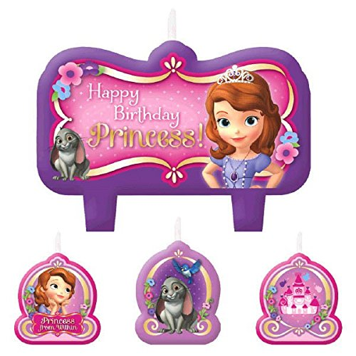 Party TimeDisney Sofia The First Molded Mini Character Birthday Candle Set, Pack of 4, Purple , 2.5