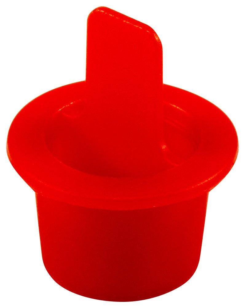 Caplugs ZCPT4Q1 Plastic Center Pull Tab Tapered Plug. CPT-4, PE-LD, Cap OD 0.62'' Plug ID 0.486'', Red (Pack of 100)