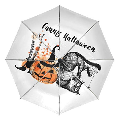 Mr.Lucien Funny Cat Halloween Pumpkin Hand Painted Windproof Automatic Folding Travel Umbrella, Theme Creative Design Compact Auto Open and Close Umbrella with UV Protection 2021373
