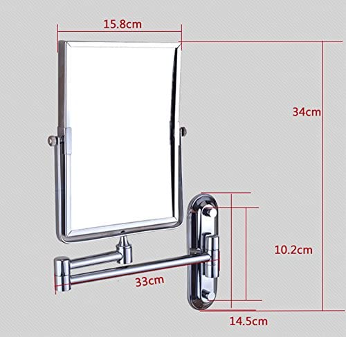 Bathroom makeup mirror wall hanging folding double-sided beauty dressing stretching-A